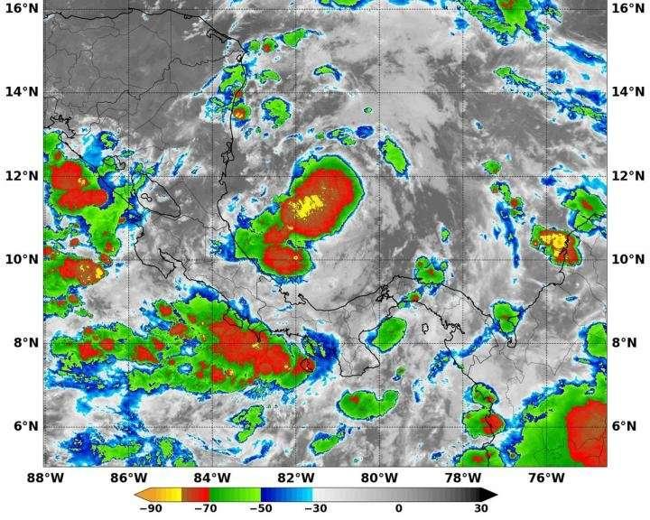 NASA sees Tropical Depression 16 develop in southwestern Caribbean Sea
