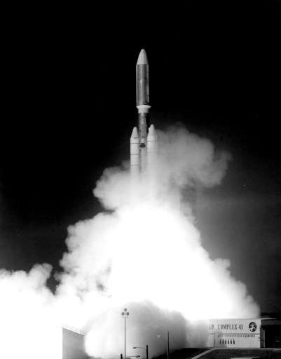 This handout photograph from Sept. 5, 1977 shows the launch of NASA's Voyager 1 spacecraft from NASA's Kennedy Space Center at C