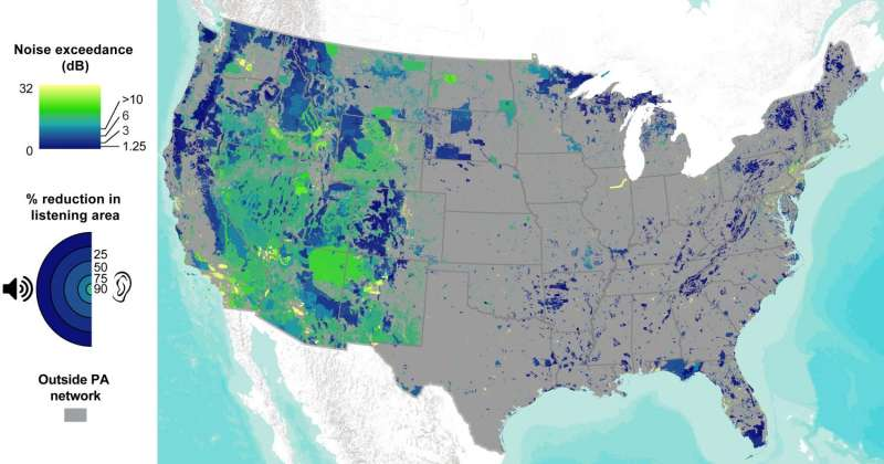 Noise created by humans is pervasive in US protected areas