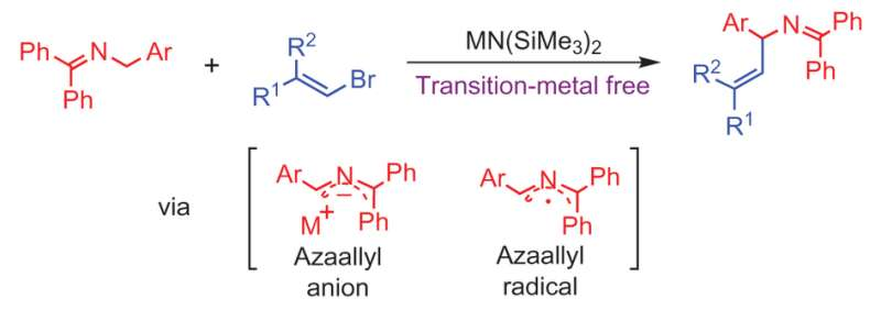 Transition-metal free carbon-carbon bond-forming reaction: vinylation of azaallyls