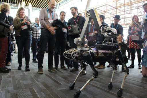 A Boston Dynamics Spot robot—speakers at the TED conference believe in the future intelligent machines will help humans look aft