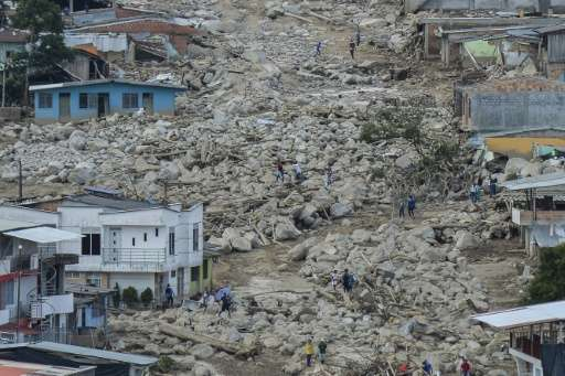 Aerial view of the extensive damage caused by mudslides as a result of heavy rains, in Mocoa, Putumayo department, Colombia on A
