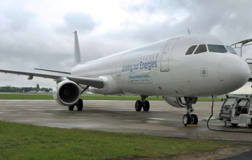 An Airbus A321 aircraft using Biojet A-1 Total/Amyris, a biofuel produced from an innovative sugar-processing technology, seen a