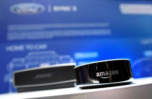 An Amazon Echo device is displayed at the Ford booth at CES 2017 in Las Vegas, as the auto company plans to incorporate the voic