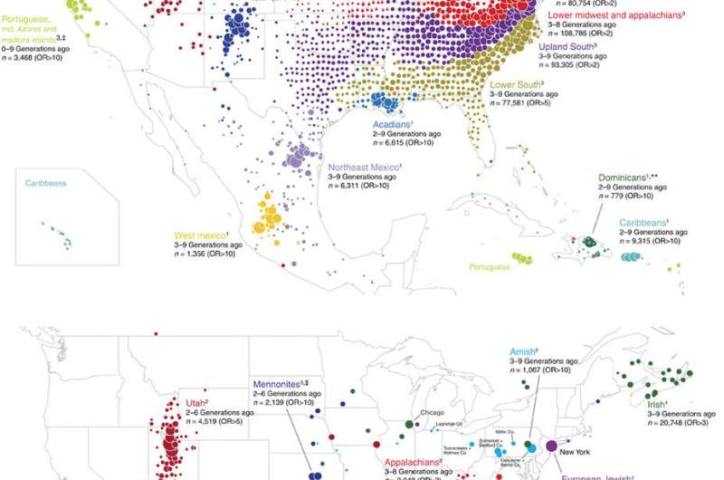 Ancestry.com analyses user DNA samples to build migration maps of North America