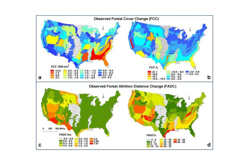 Average distance to a forest increased by almost 14% in the continental US in a decade