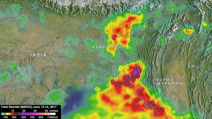Bangladesh's heavy rainfall examined with NASA's IMERG