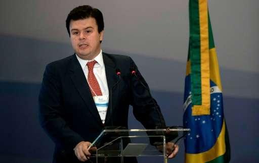 Brazil's Minister of Energy Fernando Coelho Filho speaks during the National Petroleum Agency (ANP) oil field auction at a hotel