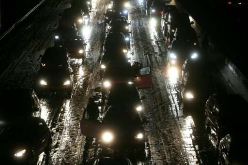 Cars stuck in a jam on the A3 highway in Duesseldorf