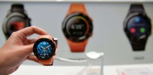Chinese multinational telecommunications company Huawei unveils their new smartwatch, Watch 2 4G, in Barcelona on February 26, 2