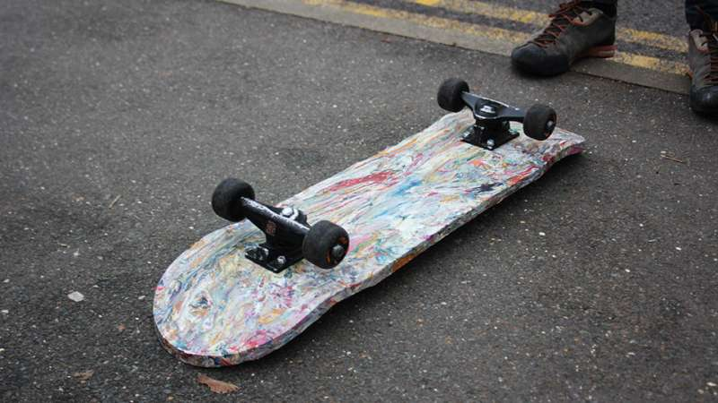 Design student turns waste plastic shopping bags into skateboards