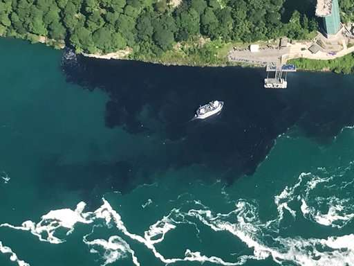 Discharge turns water at base of Niagara Falls black