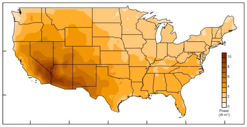 Energy harvested from evaporation could power much of US, says study