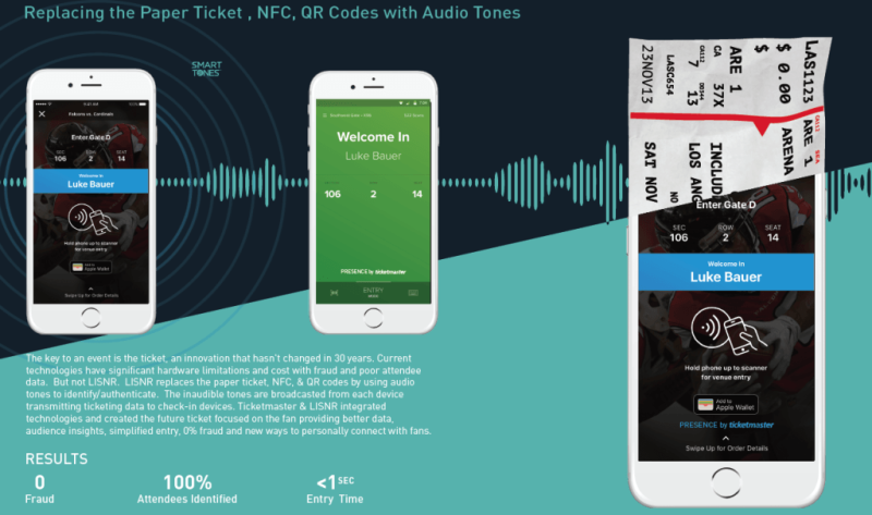Event-goers check in with audio data from their phones