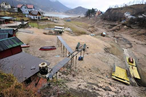 Fishermen and environmental groups say the sudden drop in the level of the artificial Jablanica lake near the Bosnian town of Ko