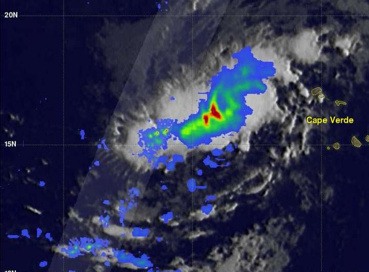GPM satellite sees Tropical Storm Irma forming near Cape Verde Islands