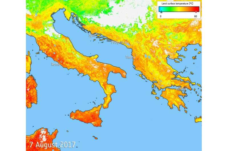 Image: Heat map of sweltering southern Europe