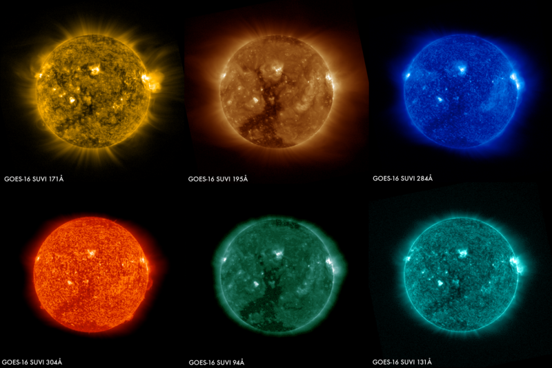 Images of the sun from the GOES-16 satellite