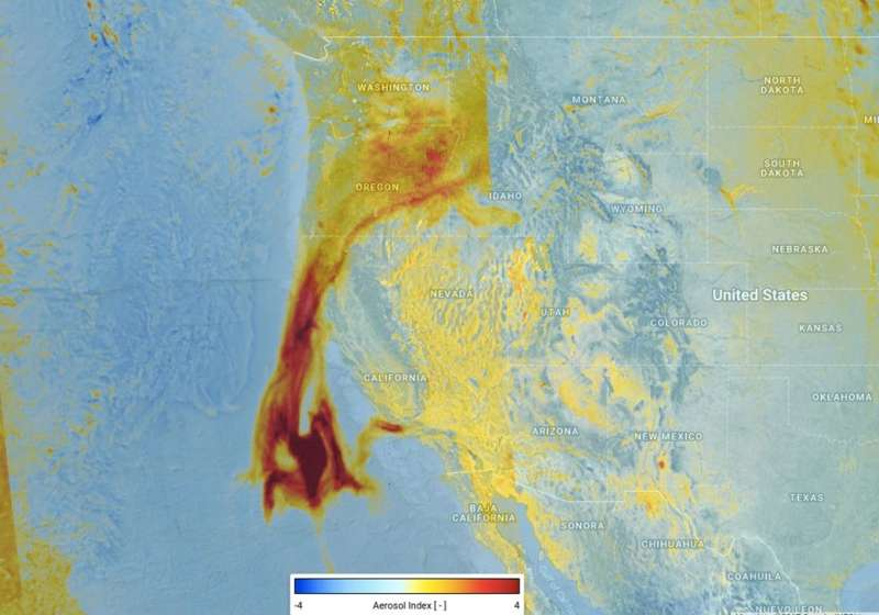 Image: Tracking aerosols from California's fires