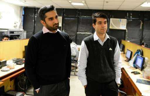 Innefu founders Abhishek Sharma (L) and Tarun Wig hope to secure government contracts for their AI-based security threat predict