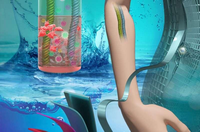 IV and cellular fluids power flexible batteries