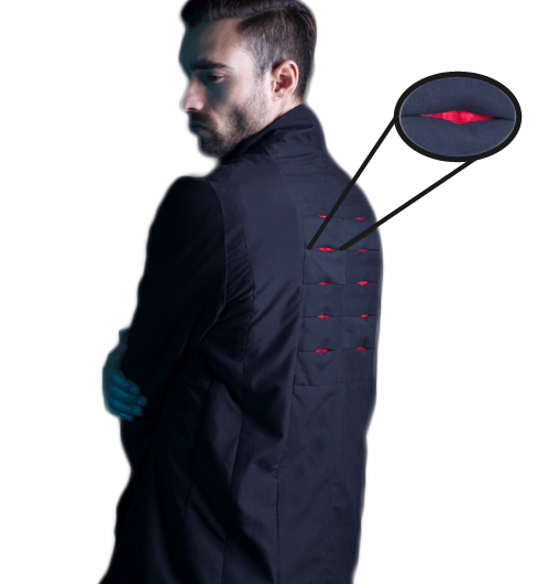 Jacket's slit-like  vents keep the wearer in a comfort zone