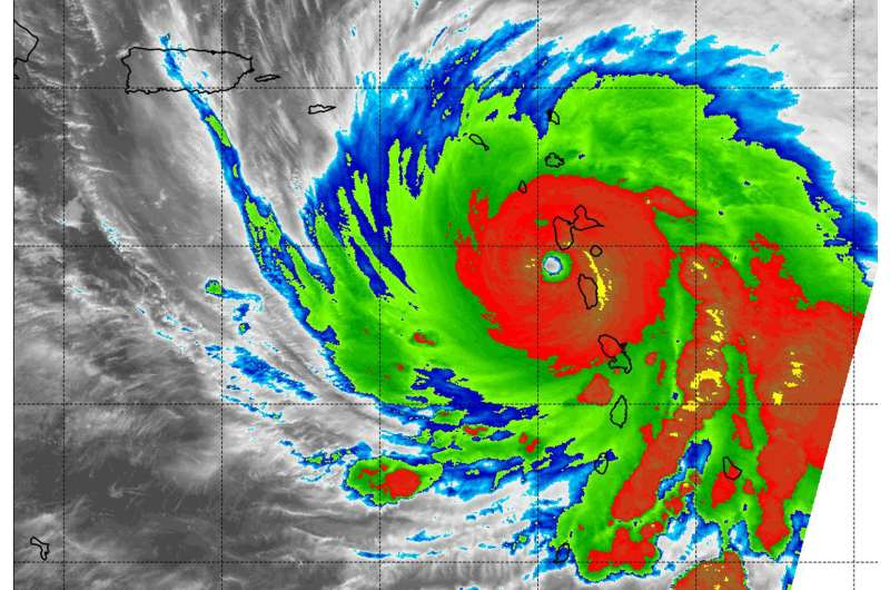 NASA looks within category 5 Hurricane Maria before and after first landfall