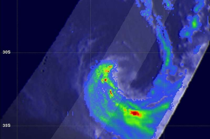NASA's GPM analyzed rainfall in ex-Tropical Cyclone 11S