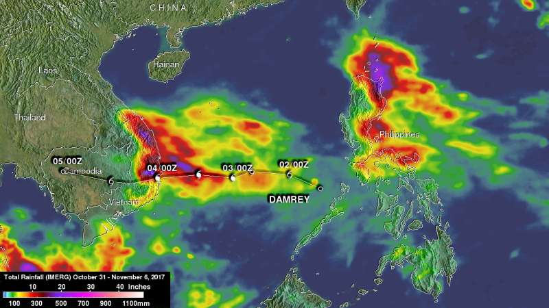NASA's IMERG adds up heavy rainfall from Tropical Storm Damrey