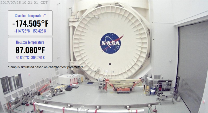 NASA's webbcam shows Webb telescope chilling in Chamber A