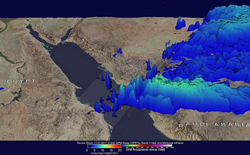 NASA views severe rain storms over western Saudi Arabia
