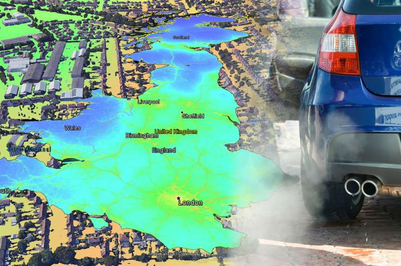 New nationwide map of air pollution provides insights into nitrogen dioxide levels across the country and within towns and citie