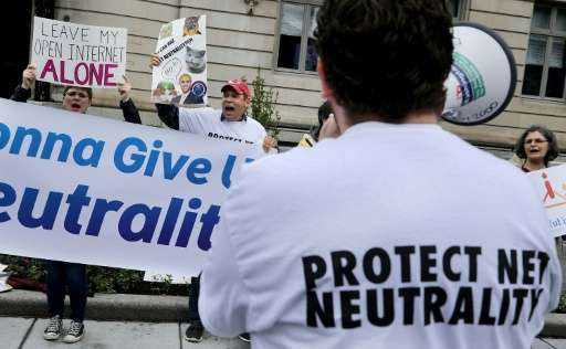 Proponents of net neutrality protest against Federal Communication Commission Chairman Ajit Pai on May 5, 2017