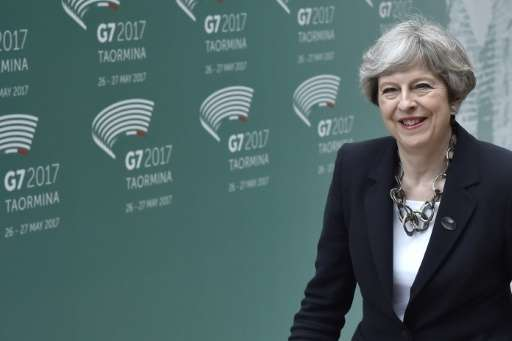 """""""Make no mistake: the fight is moving from the battlefield to the internet,"""" Prime Minister Theresa May told her G7 co"""