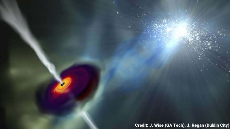Radiation from nearby galaxies helped fuel first monster black holes, says study