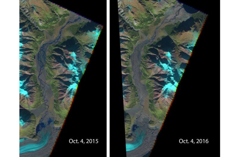 Retreating Yukon glacier caused a river to disappear