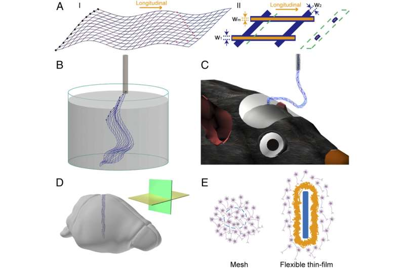 Schematics of mesh electronics