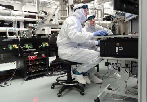 Scientists work with a fully Diode Pumped Solid State Laser designed and constructed in the Rutherford Appleton Laboratory of th