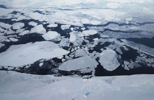 Sea ice is seen from NASA's Operation IceBridge research aircraft in March, 2017, above Greenland, which is among parties to the