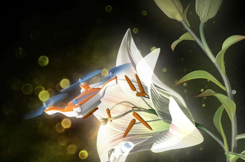 Sticky gels turn insect-sized drones into artificial pollinators