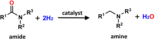 Sustainable amine production through hydrogenation of amides under mild conditions