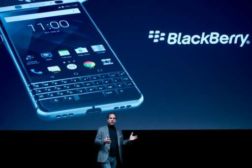 TCL Communcation's CEO Nicolas Zibell presents the new BlackBerry KEYone phone at the Mobile World Congress centre in Barcelona