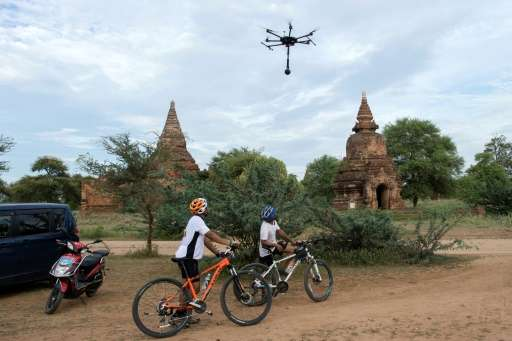 The data recorded by drones allows those with virtual reality headsets to explore Myanmar's temples,their crumbling centuries-o
