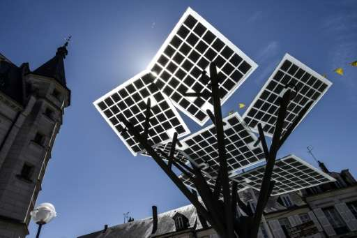 """The first """"eTree"""" technology used in Europe developed by Solar Tree Europ, a French-Israeli start up, pictured during"""