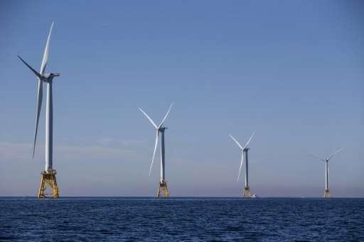 The GE-Alstom Block Island Wind Farm stands off Block Island, Rhode Island, on September 22, 2016