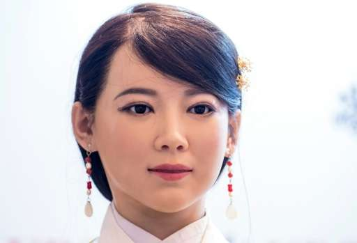 The humanoid robot 'Jia Jia' can hold a simple conversation and make specific facial expressions when asked