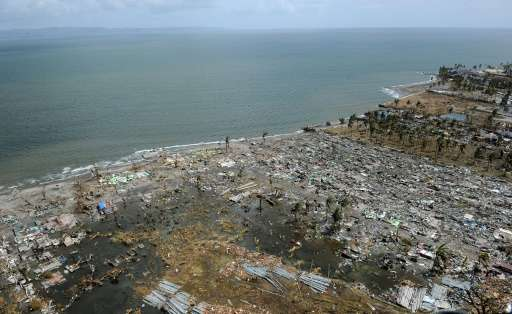 The Philippines, parts of which were devastated by Super Typhoon Haiyan in November 2013 as seen in this file photo, is among th