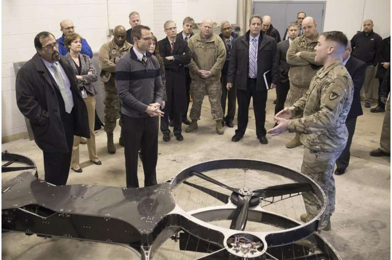 The US Army Research Laboratory visitors see quadcopter for resupplying soldiers