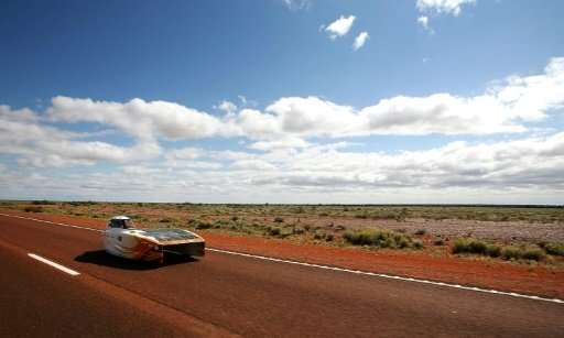 This handout from the World Solar Challenge 2017 taken and received on October 11, 2017, shows the Nuon Solar Team vehicle &quot
