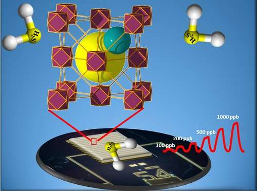 Tunable porous MOF materials interface with electrodes to sound the alarm at the first sniff of hydrogen sulfide.